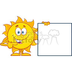 10130 talking sun cartoon mascot character pointing to a blank sign vector illustration isolated on white background clipart. Royalty-free image # 399899