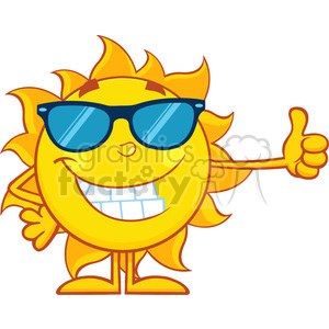 10147 smiling sun cartoon mascot character with sunglasses giving a thumbs up vector illustration isolated on white background clipart. Royalty-free image # 399909