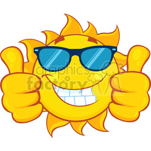 smiling sun cartoon mascot character with sunglasses giving a double thumbs up vector illustration isolated on white background clipart. Royalty-free image # 399929