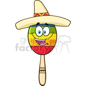 happy colorful mexican maracas cartoon mascot character with sombrero hat vector illustration isolated on white background clipart. Royalty-free image # 399949