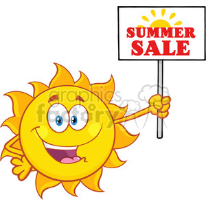 summer sun cartoon mascot character holding a sign with text summer sale vector illustration isolated on white background clipart. Royalty-free image # 399959