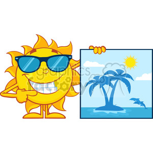 talking sun cartoon mascot character with sunglasses pointing to a poster with tropical island vector illustration isolated on white background clipart. Royalty-free image # 399969