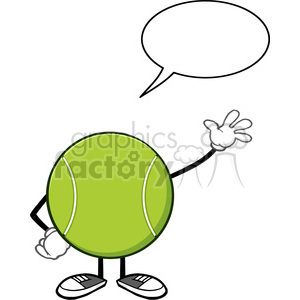 tennis ball faceless cartoon character waving with speech bubble vector illustration isolated on white background clipart. Royalty-free image # 399989