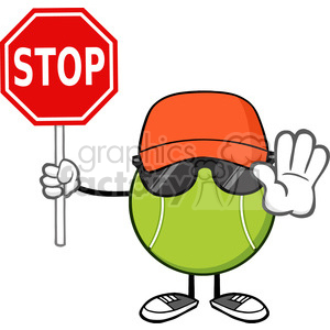 tennis ball faceless cartoon mascot character with hat and sunglasses gesturing and holding a stop sign vector illustration isolated on white background clipart. Royalty-free image # 399999