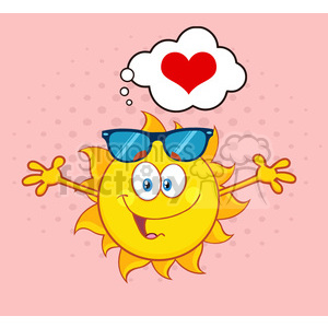 love sun cartoon mascot character with sunglasses and open arms and a heart vector illustration isolated on white background clipart. Commercial use image # 400009