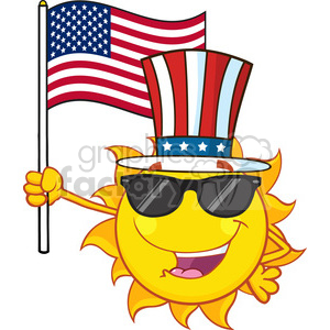 cute sun cartoon mascot character with sunglasses and patriotic hat holding an american flag vector illustration isolated on white background clipart. Commercial use image # 400019