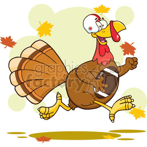 football turkey bird cartoon character running in thanksgiving super bowl vector illustration with background