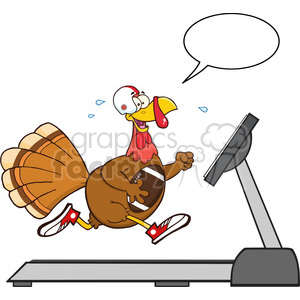 football turkey bird cartoon character running on a treadmill with speech bubble vector illustration isolated on white clipart. Commercial use image # 400079