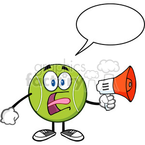 tennis ball cartoon mascot character an announcement into a megaphone with speech bubble vector illustration isolated on white clipart. Royalty-free image # 400089