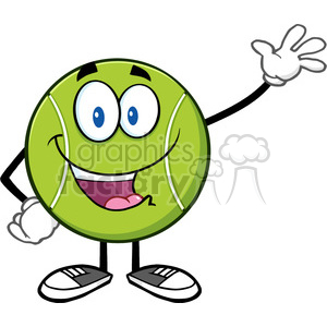 cute tennis ball cartoon character waving vector illustration isolated on white clipart. Royalty-free image # 400119