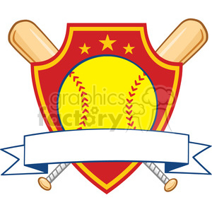 yellow softball over crossed bats logo design label vector illustration isolated on white background clipart. Commercial use image # 400139