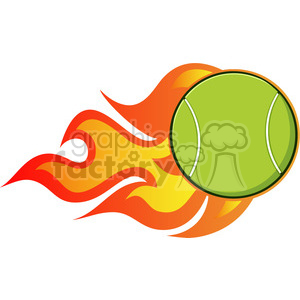 cartoon tennis ball with a trail of flames vector illustration isolated on white