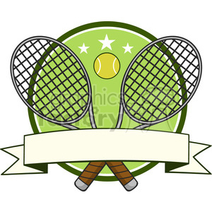 crossed racket and tennis ball logo design label vector illustration isolated on white clipart. Royalty-free image # 400159