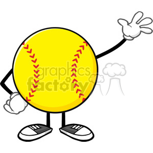sofball faceless cartoon mascot character waving for greeting vector illustration isolated on white background clipart. Royalty-free image # 400169