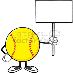 softball faceless cartoon mascot character holding a blank sign vector illustration isolated on white background clipart. Royalty-free image # 400179