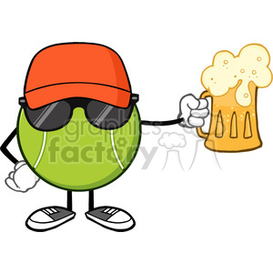 tennis ball faceless cartoon mascot character with hat and sunglasses holding a beer vector illustration isolated on white background clipart. Commercial use image # 400189