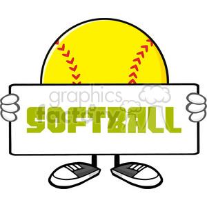 cartoon softball sports ball mascot character