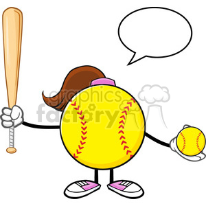 softball girl faceless cartoon mascot character holding a bat and ball with speech bubble vector illustration isolated on white background clipart. Commercial use image # 400209