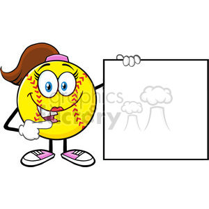 cute softball girl cartoon mascot character pointing to a blank sign vector illustration isolated on white background clipart. Royalty-free image # 400219