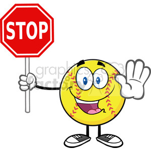 funny softball cartoon mascot character gesturing and holding a stop sign vector illustration isolated on white background