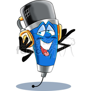 cartoon microphone mascot wearing headphones clipart. Royalty-free image # 400324