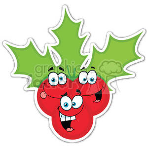 christmas cartoon holidays holiday stickers berries berry