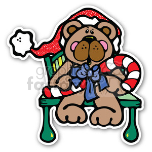 christmas teddy bear sticker clipart. Commercial use image # 400466