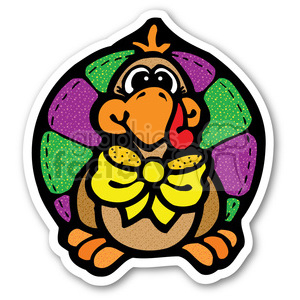 thanksgiving turkey sticker with yellow bowtie clipart. Commercial use image # 400482