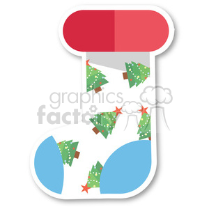 cartoon christmas stocking with christmas trees vector flat design clipart. Commercial use image # 400496