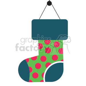 green christmas stocking vector flat design