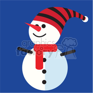snowman with funny hat on blue square icon vector art clipart. Royalty-free image # 400516