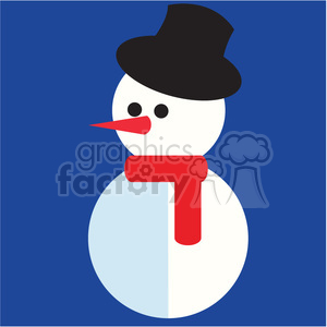 snowman with top hat on blue square icon vector art clipart. Commercial use image # 400526