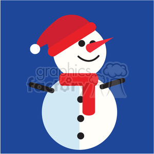 snowman with santa hat on blue square icon vector art clipart. Royalty-free image # 400536