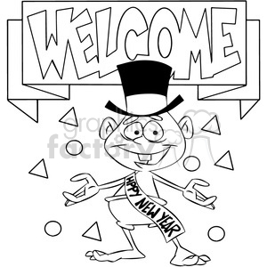 black and white welcome the new year baby new year cartoon vector art clipart. Commercial use image # 400556
