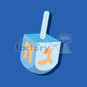 hanukkah Hebrew dreidel flat vector art on blue background clipart. Royalty-free image # 400586