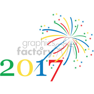 2017 typography fireworks celebration vector art clipart. Royalty-free image # 400596