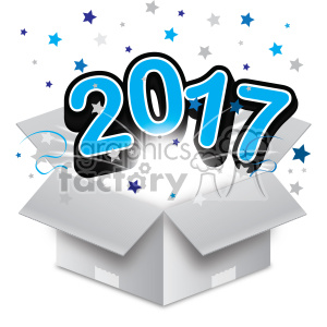 blue 2017 new year exploding from a box vector art clipart. Commercial use image # 400606