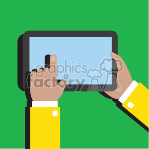 hands holding ipad surface device flat design vector art clipart. Royalty-free image # 400626