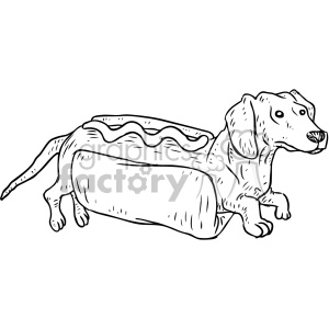illustration outline black+white hot+dog pun hotdog dachshund dachshunds dog dogs