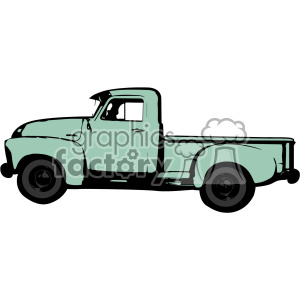 green old 1954 vintage pickup truck profile vector image clipart. Commercial use image # 402335