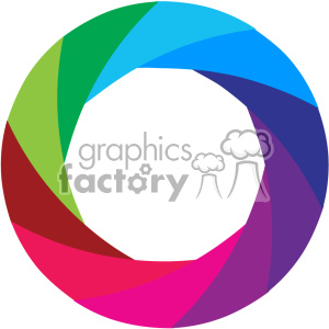 Vector Camera Shutter Colorful Shaded Design No Border Icon
