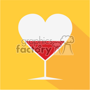 heart shaped glasses with wine vector art flat design clipart. Commercial use image # 402373