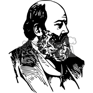 1900 bald man with a beard vintage 1900 vector art GF clipart. Commercial use image # 402473