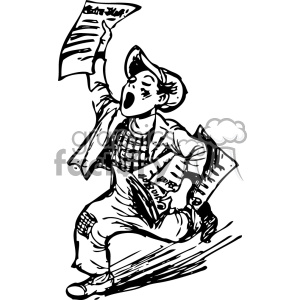 newspaper boy vintage 1900 vector art GF clipart. Royalty-free image # 402493