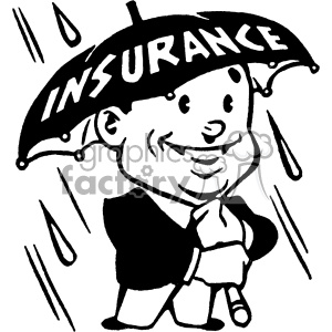 vintage retro old black+white cartoon insurance salesman salesmen umbrella ad rain protection