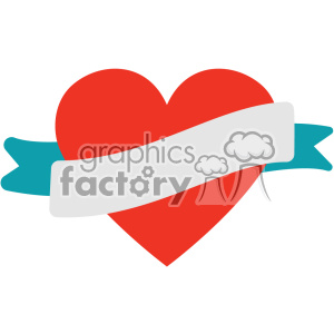 heart with ribbon vector art flat design svg cut files clipart. Commercial use image # 402602