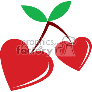 heart shaped cherries for valentines vector art flat design clipart. Commercial use image # 402607