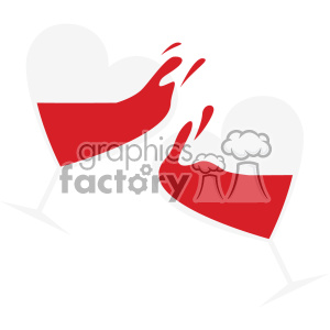 heart shaped glass with wine cheers vector art flat design svg cut files clipart. Commercial use image # 402608