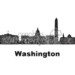 black and white city skyline vector clipart USA Washington clipart. Commercial use image # 402723