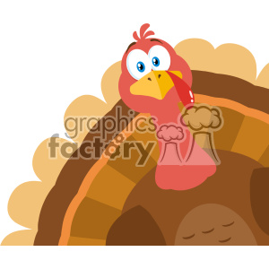 Thanksgiving Turkey Bird Cartoon Mascot Character Peeking From A Corner Vector Flat Design clipart. Commercial use image # 402742